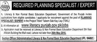 Literacy and Non Formal Basic Education Department Lahore Jobs