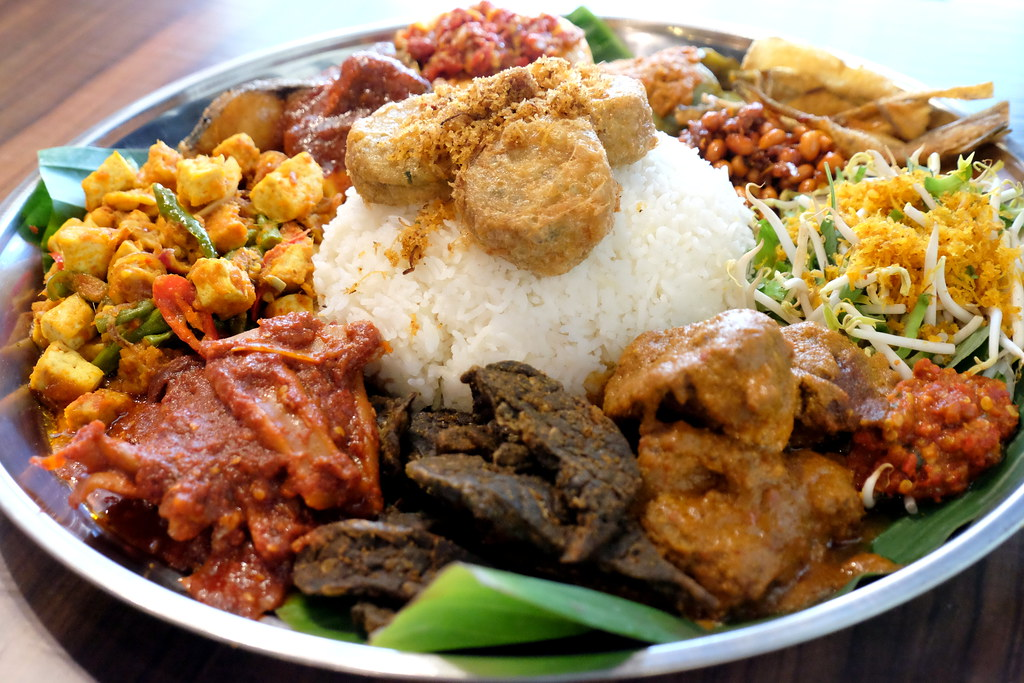 Side view of Ambeng Cafe by Ummi Abdullah's Traditional Ambeng Platter or Nasi Ambeng