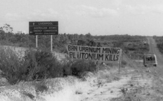 Banner at the entrance to Lucas Heights research reactor, May 1976