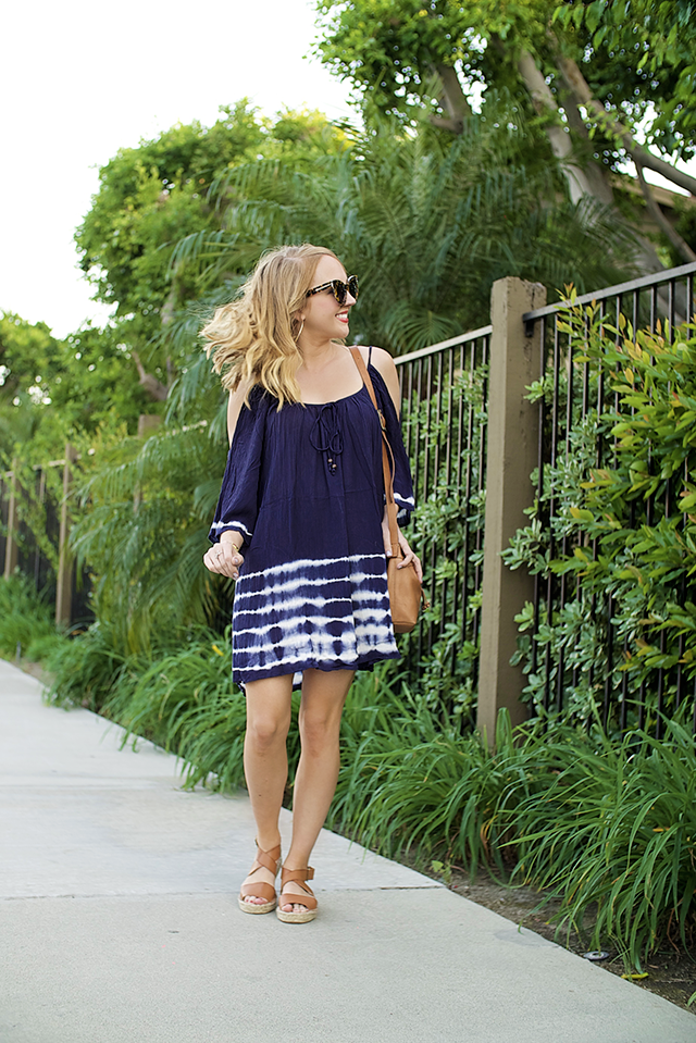 navy tie die off the shoulder dress
