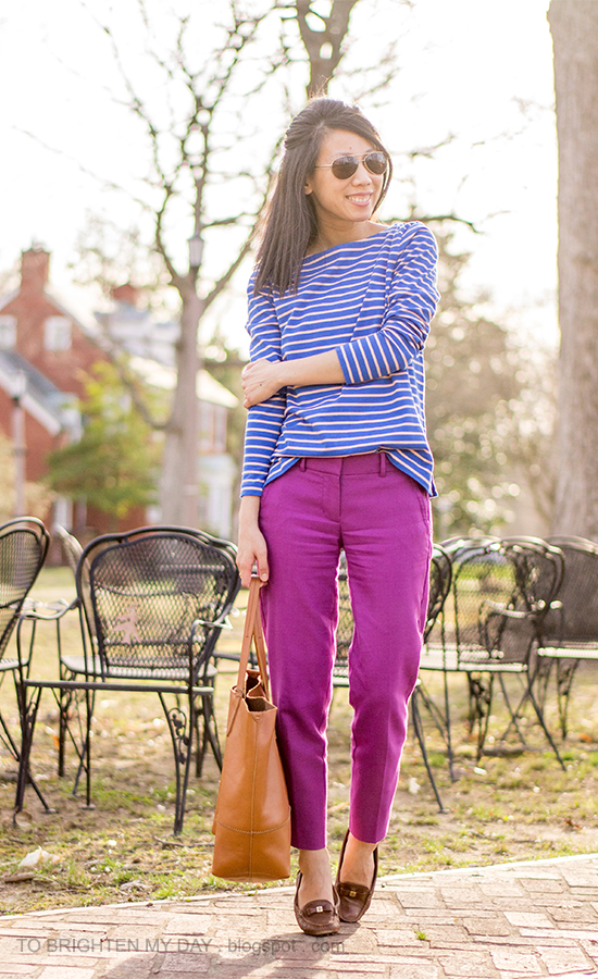 blue striped stop, fuchsia pants, cognac brown tote, brown loafers