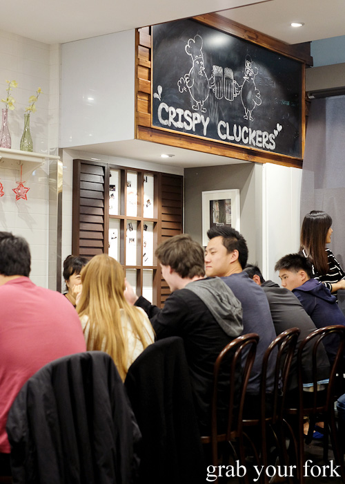 Korean fried chicken diners at Crispy Cluckers, Newington
