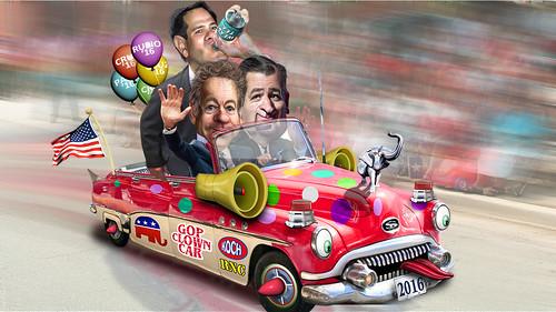 Marco Rubio, Rand Paul & Ted Cruz in the Republican Clown Car