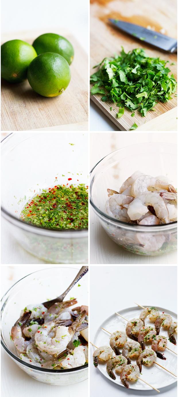Grilled Cilantro Lime Shrimp Skewers that are perfect for grilling this summer! Easy to make and less than 10 ingredients! #shrimpkabobs #shrimpskewers #grilledshrimp   Littlespicejar.com