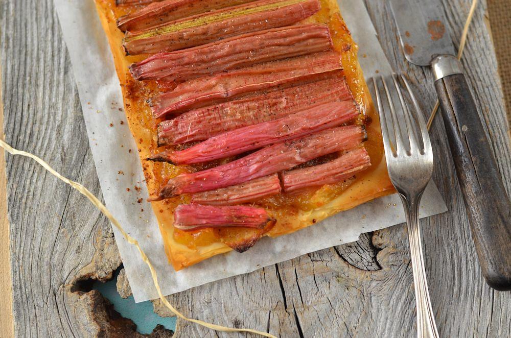 Tarte fine rhubarbe et pomme