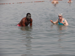 Two of our party in the Dead Sea