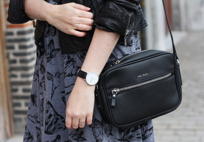 outfit: cross body bag, daniel wellington watch, butterfly print dress