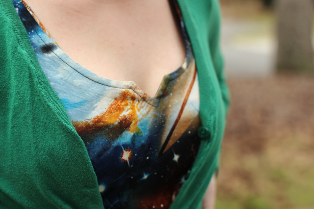 Galaxy Print Notched Neckline Detailing and Green H&M Cardigan