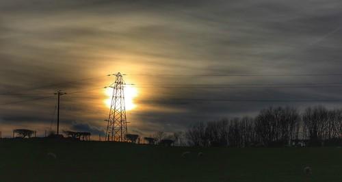 trees sunset clouds pylon telegraphpole graig northwales glanconwy ashperkins telegraphtuesday