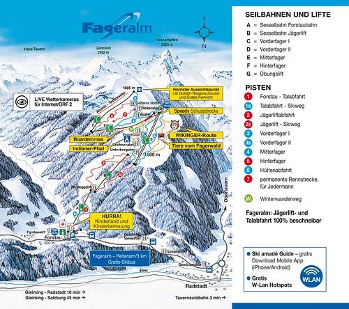 Fageralm - mapa sjezdovek
