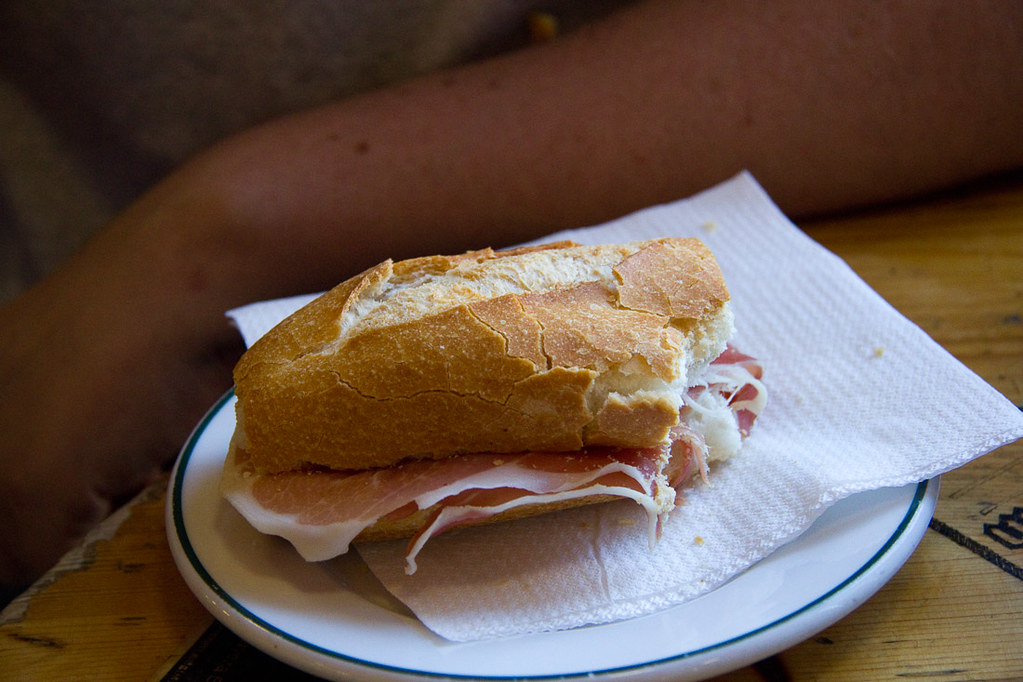 Ham (Jamon) sandwich in Spain