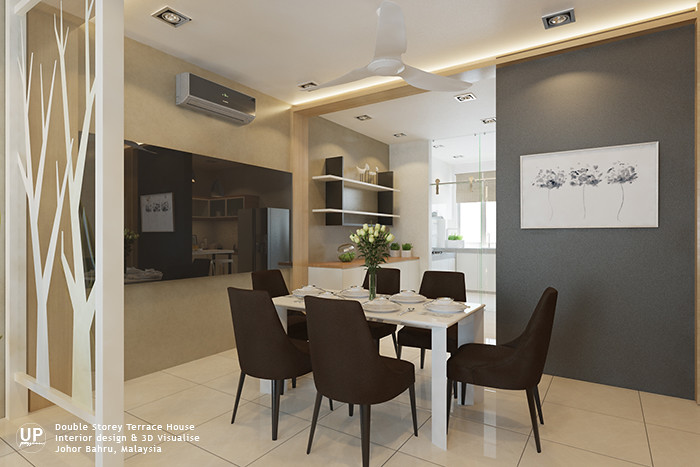 La Garden double storey terrace dining area with a dark grey highlighted wall match with beige color wall and grey mirror