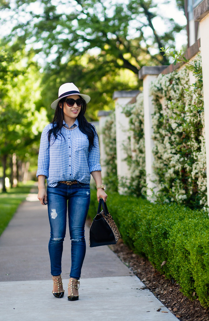 cute & little blog | petite fashion | gingham boyfriend shirt, ag distressed jeans, leopard belt, panama hat, clare v leopard sandrine satchel, black studded pumps, rocksbox statement necklace | spring casual outfit