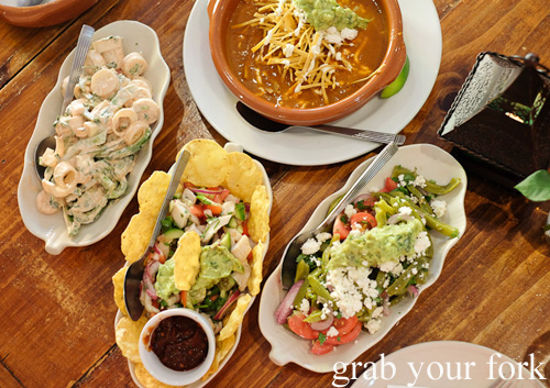 Hearts of palm salad, tortilla soup, cactus salad and ceviche at La Cocina de la Abuela, Marrickville