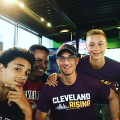 Oglesbys and the Ruffers representing Cleveland well in a pro-Warriors sports bar and grill.