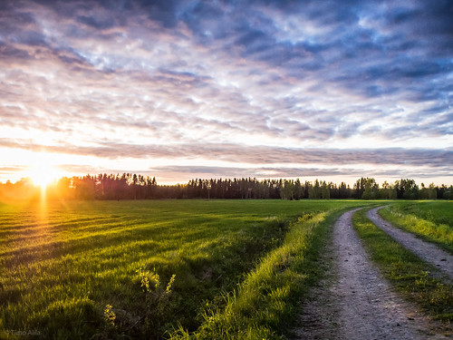 lasikangas ylipää raahe finland may summer field sunset clouds road trail night green forest