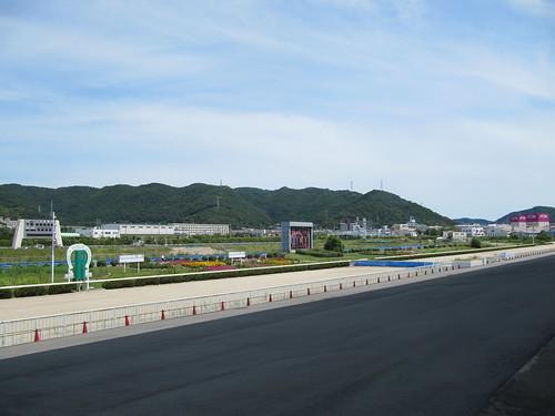 姫路競馬場の走路を見おろす