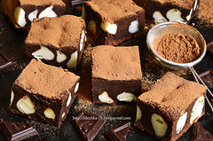 Chocolate brownies with ricotta.