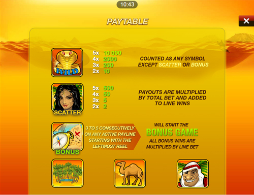 free Desert Treasure Mobile slot payout