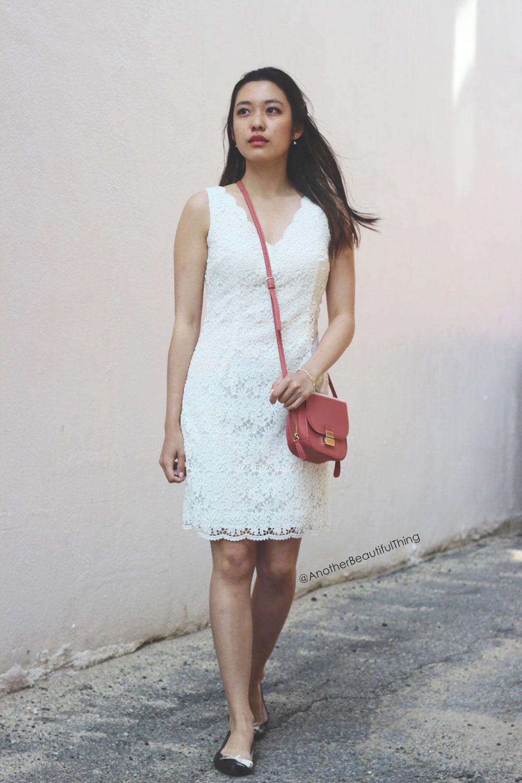 Ann Taylor white lace scallop dress