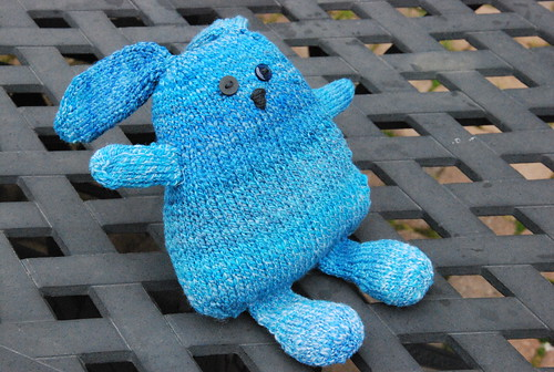 Knitted Mario the Artistic Rabbit stuffed toy in handspun yarn by irieknit