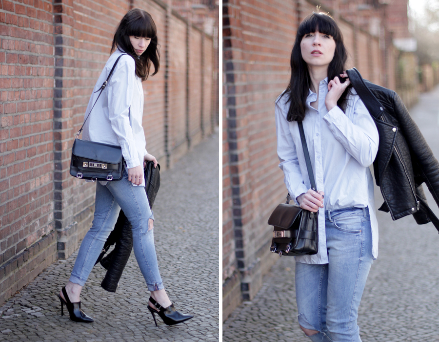 blue jeans outfit styling black bag pointy heels h&m topshop guess proenza schouler zara styling ootd blogger outfitblogger fashionblogger cats & dogs blog ricarda schernus berlin 5