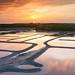 Sunset on Guerande Salt Evaporation Ponds, in South Brittany, France by Loïc Lagarde