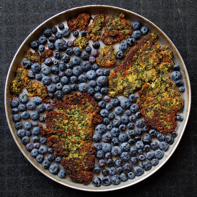 Global South curried kale cakes in a sea of blueberries by Eve Fox, the Garden of Eating, copyright 2015