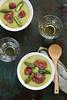 Soupe asperges pommes de terre et gésiers confits