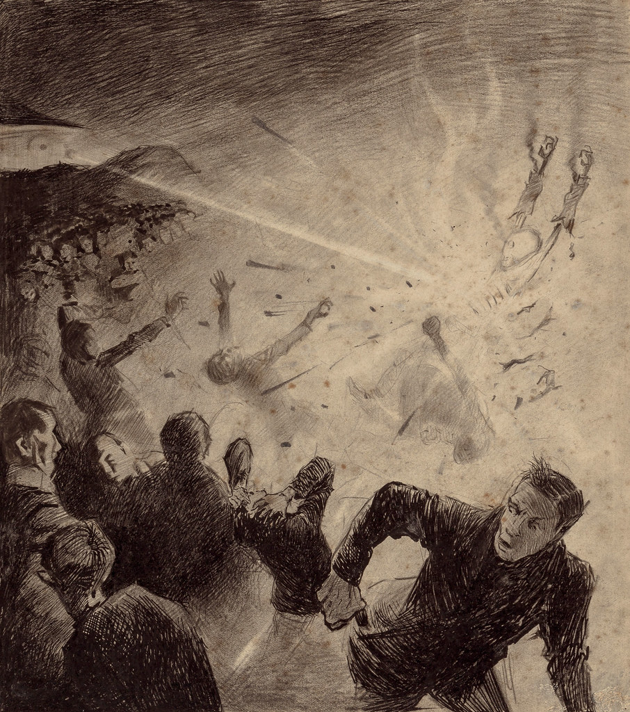 "HENRIQUE ALVIM CORRÊA - Martians Attack, from The War of the Worlds, Belgium edition, 1906 (illustration is featured in Book I- The Coming of the Martians, Chapter V- ""The Heat-Ray,"")"