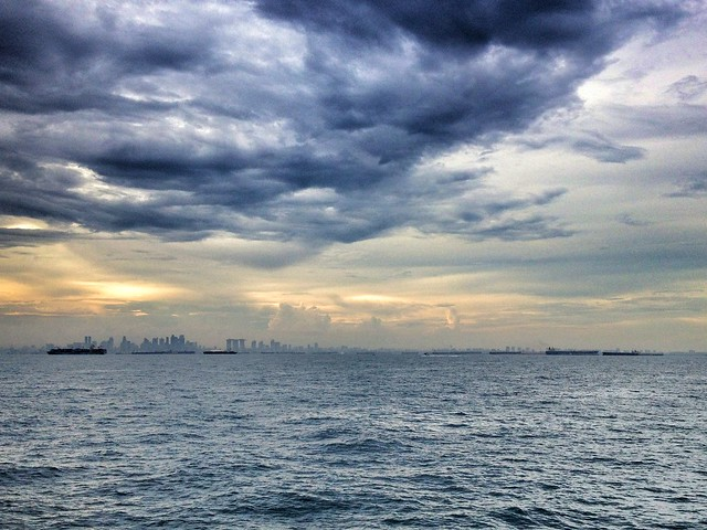 Singapore skyline from the sea