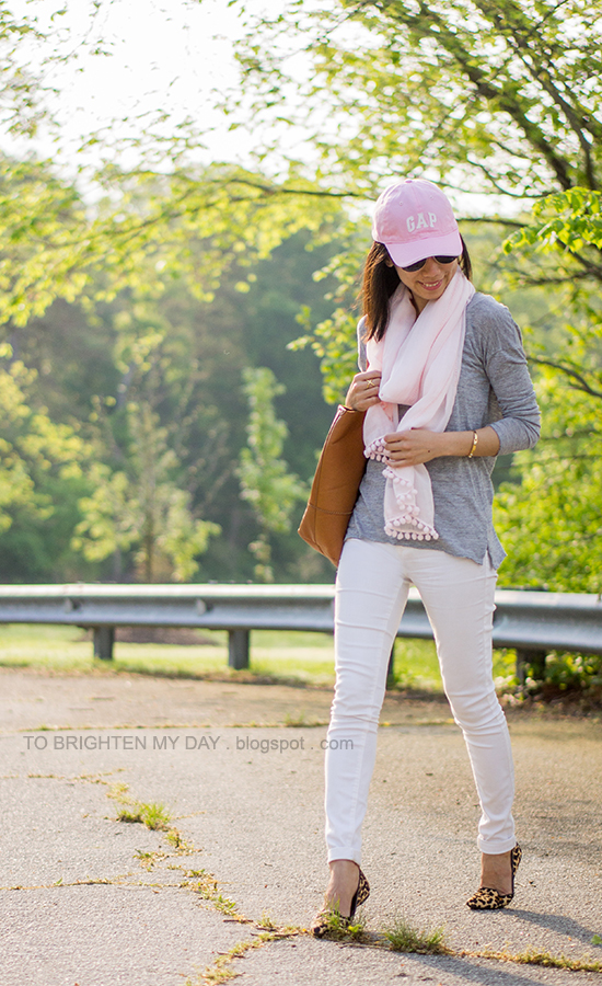 pink cap, gray tee, pink scarf, white jeans, leopard flats, cognac brown tote