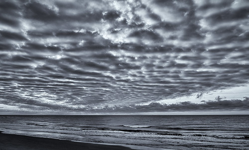 sky blackandwhite bw beach water clouds sunrise shoreline southcarolina shore impression pawleysisland littletinperson
