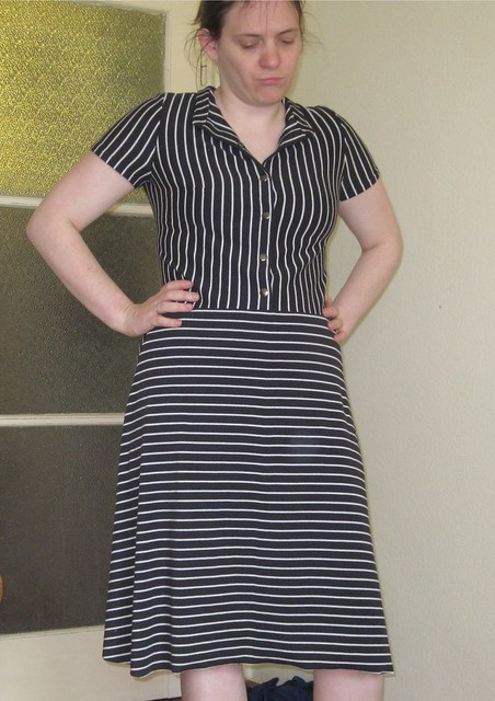 striped dress with sleeves