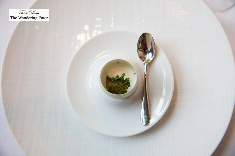 Egg a la L'Arpege - Yolk, sorghum syrup, JQ Dickinson salt, chive