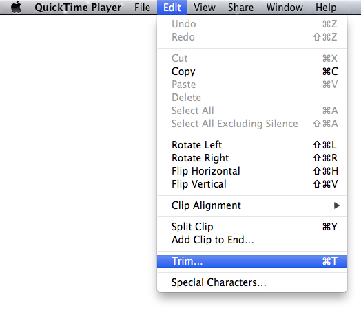 Quicktime Trim Menu