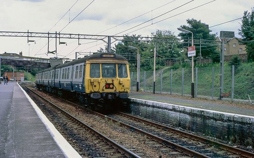 25kV AC EMU set 311 095 at Motherwell. 1988.