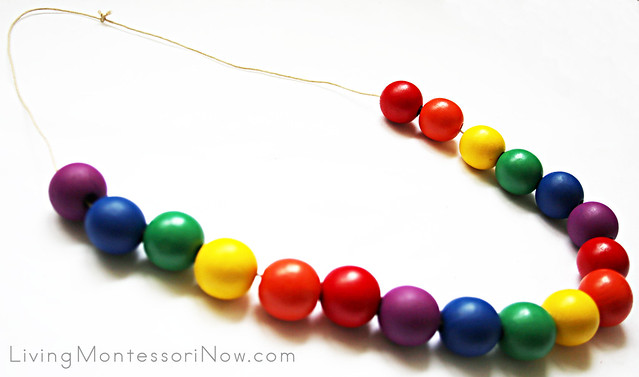 Rainbow Color Necklace Made with Lacing Beads