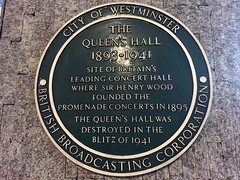 Photo of Queen's Hall, Henry Wood, and The Promenade Concerts green plaque