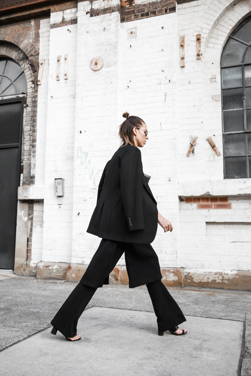 modern legacy fashion blog street style all black fashion week flares Proenza Schouler mules half bun (1 of 1)