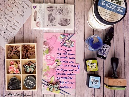 Attrezzi ed abballimenti vari che ho utilizzato per decorare il divisorio del mio Webster's pages planner