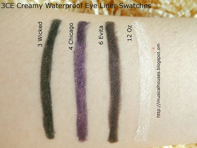 3CE Creamy Waterproof Eyeliner Swatches