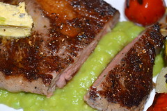 Charred Rump Steak, Mashed Peas, Grilled Courgette…