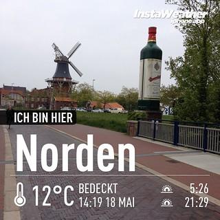An der #Deichmühle mit der #doornkaat-Flasche in #Norden. #Fußgängerzone #instaweather #instaweatherpro #weather #wx #norden #deutschland #day #rain #de