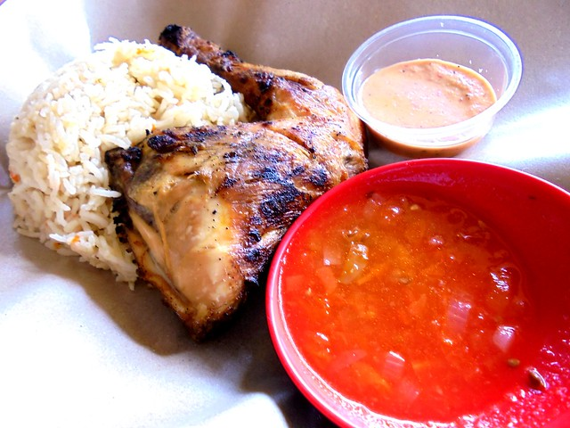 Pili-pili rice with grilled chicken