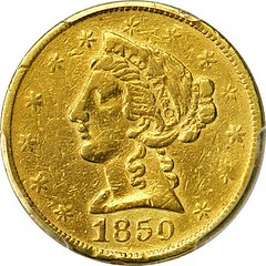 1850 Baldwin & Co. $5 Gold obverse