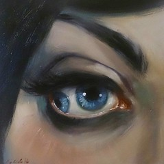 """The Baroness"", oil on board, 4x4 inches. Going to Lily's Greasy Gallery at this year's Greaserama!"