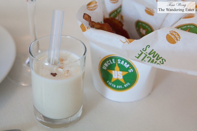 Sweet coconut drink and hoisin sauce glazed bacon chips