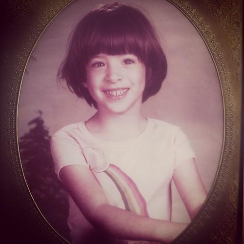 Little me, rockin' a bowl haircut...