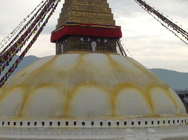 The top of the Bouddhanath stupa, in Kathmandu.